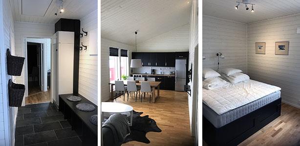 Hall, kök och sovrum i Rödräven. Uthyrning, Kittelfjäll, Stuga.
