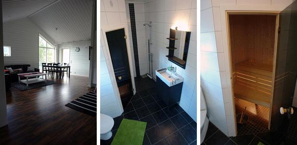 Vardagsrum, badrum och bastu.