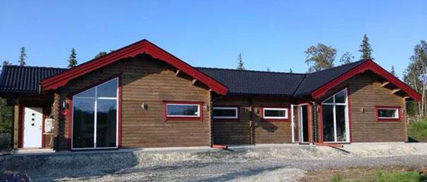 Fasad stuga Sågselet och Långselet i Kittelfjäll